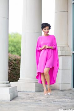 Nini Nguyen Circle Dress in hott pink (also wore this dress to the Launch) Vestido circular African Attire, African Dress, Circle Dress, Mode Inspiration, Asian Style, Dress Me Up, Pink Dress, A Boutique, Rihanna