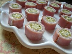 Ham, cream cheese, and pickled okra rollups! Easy and delicious
