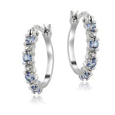 925 Sterling Silver Tanzanite & Diamond Accent Hoop Earrings #Hoop