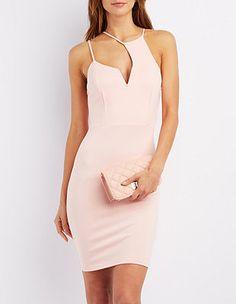 Asymmetrical Cut-Out Bodycon Dress: Charlotte Russe