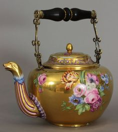 Rare Sèvres teapot (bouillotte or bouillotte chine) by Philippe Parpette. The unusual teapot or kettle, perhaps originally used for hot water, is decorated with burnished gold background.