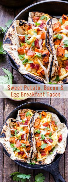 Nutritious Snack Tips For Equally Young Ones And Adults Sweet Potato, Bacon And Egg Breakfast Tacos Are A Dream Come True For Taco Lovers A Super Satisfying And Delicious Breakfast Potato And Egg Breakfast, Eggs And Sweet Potato, Healthy Egg Breakfast, Sweet Potato Tacos, Breakfast Tacos, Sweet Potato Recipes, Bacon Recipes, Egg Recipes, Breakfast Recipes