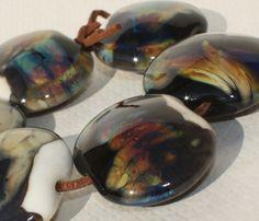 Large Lampwork Glass Beads Set of 6  Black от GlassNatalyaDarlin