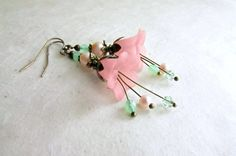 Peach Flower Earrings with Mint Green Crystals  by PiggleAndPop