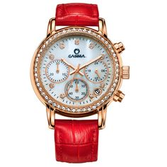 >> Click to Buy << CASIMA Luxury Brand Ladies Crystal Watch Fashion Casual Women's Quartz Watches Red Leather Women Dress Wristwatches Montre Femme #Affiliate