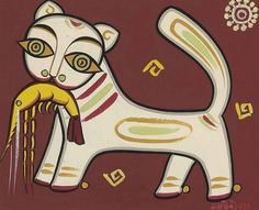 Cat with prawn, Jamini Roy