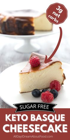 This Keto Burnt Basque Cheesecake is so creamy and rich, and it's absolutely impossible to mess up. The caramelized top and sides of this low carb cheesecake are unmistakeable. Sugar Free Cheesecake, Sugar Free Desserts, Sugar Free Recipes, Cheesecake Calories, Low Carb Cheesecake, Cheesecake Recipes, Keto Dessert Easy, Healthy Dessert Recipes, Delicious Recipes