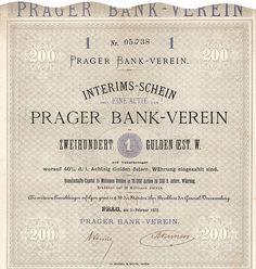 Prager Bankverein Actie (Interims-Schein) 200 Gulden, Nr. 5738  Prag, 5.2.1872
