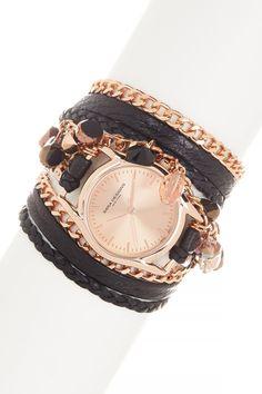 Sara Designs Swarovski Detail Wrap Watch