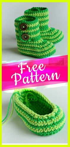 Crochet Green Zebra Baby Booties