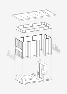 This axonometric drawing explains the building components that create the cabin, including everything from the floor plate and slate cladding, to the lantern of windows and up to the roof. Cabin Design, House Design, Axonometric Drawing, Planer Layout, Casa Patio, Snowdonia National Park, House And Home Magazine, Cabin Rentals, Little Houses