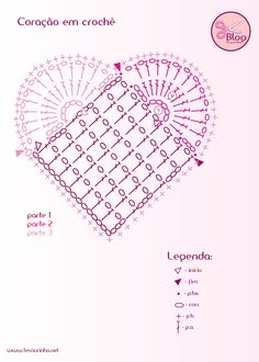 Crochet Heart - Chart - can be adapted to make larger heart Crochet Heart - Tutorial for Crochet, Knitting. crochet heart diagram - Don't click but you can use the diagram 135 designs & patterns for harts Easily adapted to use different beginning squares Crochet Diy, Filet Crochet, Crochet Motifs, Crochet Diagram, Crochet Stitches Patterns, Crochet Chart, Crochet Squares, Crochet Gifts, Crochet Designs