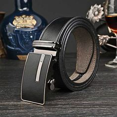 Genuine Leather Casual Jeans Automatic Buckle Brand Designer Leather Belt Cow Skin Strap Girdle For Male Freeshipping Leather Belts, Cowhide Leather, Real Leather, Belted Cow, Cow Skin, Chain Belts, Leather Design, Black Belt, Rings For Men
