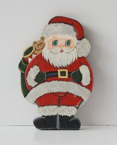 New Listing! Vintage Wooden Painted Santa Claus Christmas by JudysJunktion, $15.00