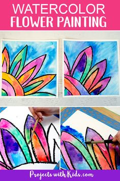 Kids will love creating this gorgeous watercolor flower painting! Use easy watercolor techniques to make this colorful art project that is perfect for spring or summer. art How to Make a Beautiful Watercolor Flower Painting Kids Watercolor, Watercolor Projects, Watercolor Flowers, Watercolor Techniques, Watercolor Paintings, Spring Painting, Painting For Kids, Artwork For Kids, Spring Arts And Crafts