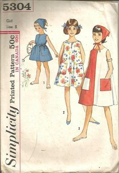 1960s Girl's Tent Dress and Scarf Sleeveless Round by kinseysue