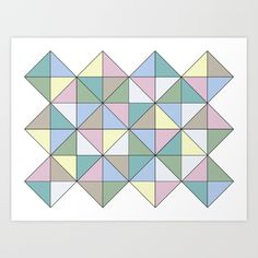 A basic geometric pattern in pastel colours.<br/>  pastel, geometric, pattern, pink, yellow, green, blue