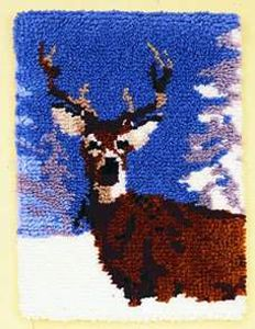 Winter Deer 16 X 22 Latch Hook Rug Kit Comes Complete With