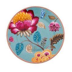 Assiette à dessert de la collection Fantasy de PIP STUDIO, assiette à la décoration florale et très colorée. Donnez de l'élégance et de la gaité à vos tables.