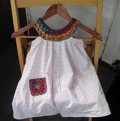 Crocheted yoke and pocket on men's shirt. Cute