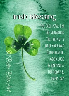 Irish Blessing: For each petal on the shamrock this brings a wish your way. Irish Prayer, Irish Blessing, Irish Quotes, Irish Sayings, Wall Art Quotes, Quote Wall, Irish Toasts, Irish Proverbs, Luck Of The Irish