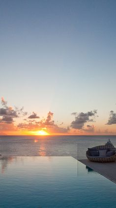 Spectacular sunset in St-Barts.