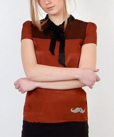 Take a look at this Brown & Black Mustache Cuore Top by Titis Clothing on #zulily today!