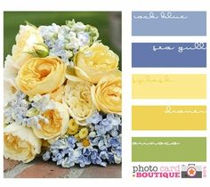 Color scheme I love. this palette with 2 tones of my blue and 2 tones of soft buttery yellow, plus its little pop of celery, is really pretty.