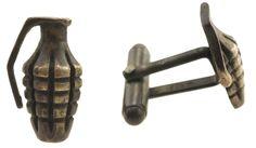 Score a novelty knockout with these Grenade Cufflinks ➳ http://shop.scosha.com/bike-cufflinks/