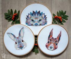 Cute Cross Stitch Pattern Hedgehog Geometric Cross Stitch