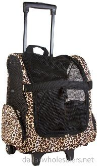Leopard Rolling Backpack Pet Carrier for Dogs  Cats ** You can get more details by clicking on the image.