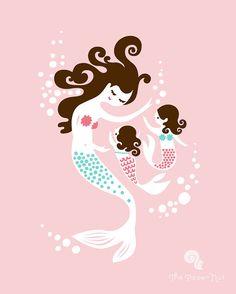 8X10 mermaid mother & twin daughters giclee art by ThePaperNut