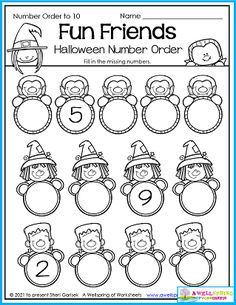 In this Halloween Number Order worksheet kids count beginning with a number other than one. Please check out my entire AWESOME 30 page set of Halloween Counting Worksheets for Kindergarten. Lots of engaging and fun worksheets for your holiday math lessons. Counting Worksheets For Kindergarten, Alphabet Tracing Worksheets, Counting For Kids, Number Worksheets, Kids Count, Halloween Worksheets, Writing Lines, Ordering Numbers, Upper And Lowercase Letters