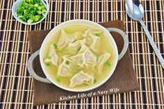 The Kitchen Life of a Navy Wife: Wonton Soup Used to know how to do this, put lost the recipe years ago. Love wonton soup might be worth a try again Asian Recipes, Soup Recipes, Great Recipes, Cooking Recipes, Chinese Recipes, Chinese Food, Yummy Recipes, Healthy Recipes, Ethnic Recipes