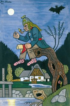 Josef Lada illustration - Vodník (the water sprite) The Good Soldier Svejk, Grandma Moses, Tattoo Portfolio, Naive Art, Mythology, Illustrators, Folk Art, Fairy Tales, Illustration Art