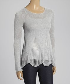 Look at this Mystree Heather Gray Pointelle Boatneck Sweater on #zulily today!