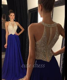 Unique A-line round neck blue long prom dress, formal dress for teens