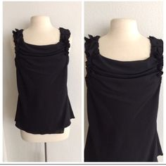 """FLASH SALE! Spense black top Spense black top. Size M. 95% polyester/ 5% spandex. This has a little bit of stretch and it is slightly sheer. EUC! Measures 25"""" long with a 36"""" bustNO TRADES Reasonable offers accepted Ask about bundle discounts Spense Tops"""