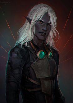 Elves Fantasy, Fantasy Rpg, Elf Characters, Fantasy Characters, Character Portraits, Character Art, Drow Male, Half Drow, Dnd Elves