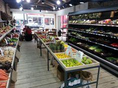 Rustic produce display at Harvest on Kingsland high street, Dalston