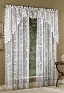 Hopewell Lace Curtain Panels – White – Lorraine - View All Curtains