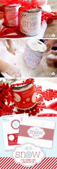 """This """"can of snow"""" is the sweetest and thriftiest little gift ever! You can make any child's Christmas a white one. : ) All it takes is a paint bucket, the free printable label that I designed for HowDoesShe, and a batch of faux snow (which I . Noel Christmas, All Things Christmas, Winter Christmas, Christmas Ideas, Coastal Christmas, Holiday Crafts, Holiday Fun, Holiday Ideas, Homemade Gifts"""
