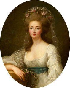 A portrait of Madame Elisabeth, sister of Louis XVI, by (or after) Elisabeth Vigee-Lebrun.