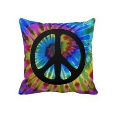 Peace Sign Tie Dye 60s Hippy Pillows