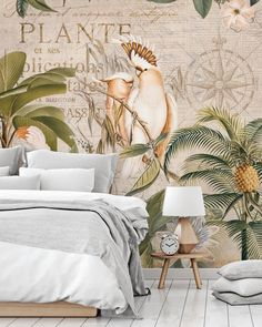 Shop this tropical jungle wallpaper mural by Andrea Haase. Give your room a timeless vintage look with this beautiful jungle wallpaper by Andrea Haase. Vintage feels and beautiful jungle design by Andrea Haase. This Cockatoo Jungle Wall Mural is very detailed and sure to make you relax. Click to see the full collection from Wallsauce! #wallpaper #wallmural #wallsauce #accentwall #homedecor #urbanjungle Vintage Elephant, Tropical Wallpaper, Decor Logo, Statement Wall, Target Home Decor, Elephant Design, How To Show Love, Design Your Home, Animal Wallpaper