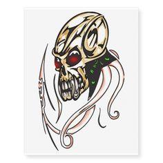 Cyborg Skull Temporary Tattoos