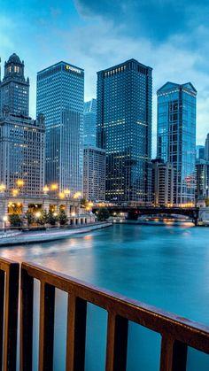 chicago, llinois, illinois, usa, united states, city, evening, rive