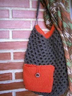 bolso en hilo de algodón y cotton cord marrón