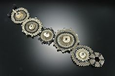 Silver and Black Single Lilypad Cuff: Julie Powell: Beaded Bracelet - Artful Home