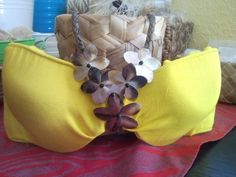 Covered bra with Plumeria shells | CaliforniaHulaCenter - Clothing on ArtFire